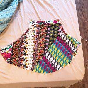 Desigul Patterned Flare Skirt Cotton Blend EUC